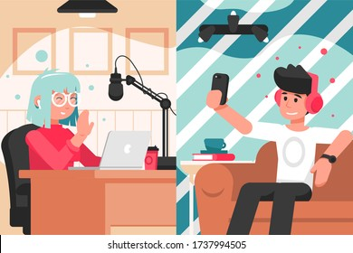 Broadcast, blogging, communication, collavoration interview concept. Man woman boy girl social media or network bloggers collaborate on live streaming together. Podcast or video recording in studio.