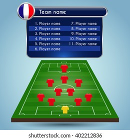 Broadcast Graphics for Sport Program. Football Soccer arrangement of players and staff in the game, formation and playfield.  Digital background vector illustration. Infographic