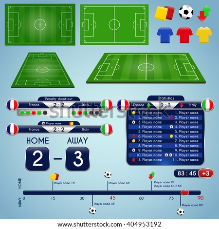 Broadcast graphics sport program soccer match stock vector royalty broadcast graphics for sport program soccer match statistics template football elements and play field maxwellsz