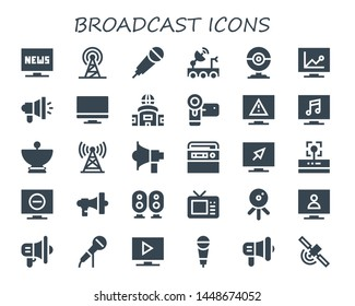 broadcast icon set. 30 filled broadcast icons.  Simple modern icons about  - Television, Signal, Karaoke, Satellite dish, Webcam, Megaphone, Tv, Camcorder, Tower, Radio, Wifi
