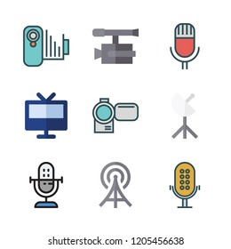broadcast icon set. vector set about television, microphone, video camera and radio antenna icons set.