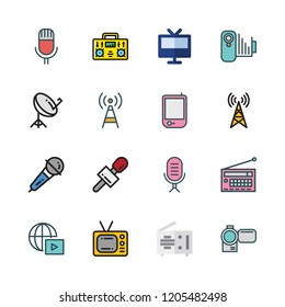 broadcast icon set. vector set about streaming, camcorder, satellite dish and antenna icons set.