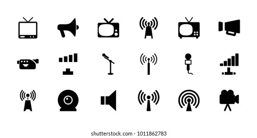 Broadcast icons. set of 18 editable filled broadcast icons: signal tower, signal, tv, transmitter, megaphone, microphone, camera