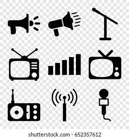 Broadcast icons set. set of 9 broadcast filled icons such as signal tower, microphone, radio, tv, signal, megaphone