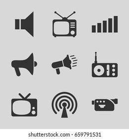 Broadcast icons set. set of 9 broadcast filled icons such as radio, tv, camera, megaphone, signal