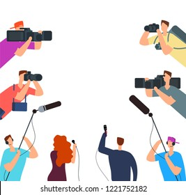 Broadcast interview. Tv journalists with camera and microphones online. News on air vector concept