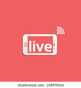 Broadcast Live, phone flat icon isolated on red background for your design, vector illustration