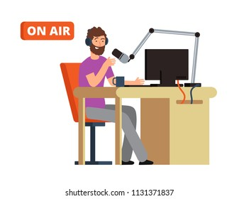 Broadcast in radio studio. Broadcasting person with microphone and headphones. Cartoon vector illustration. Broadcasting studio and radio dj with mic