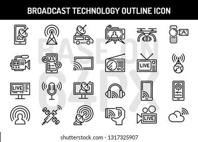 Broadcast technology outline icons set. Pixel perfect icon base on 64PX