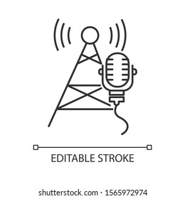 Broadcasting industry linear icon. Telecommunications. Soundwave. Telecom tower and microphone. News, radio. Thin line illustration. Contour symbol. Vector isolated outline drawing. Editable stroke