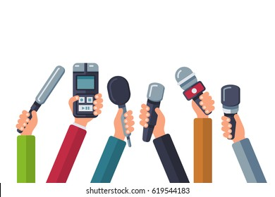 Broadcasting, media tv, interview, press and news vector background with hands holding microphones. Dictaphone and mic for reportage news illustration