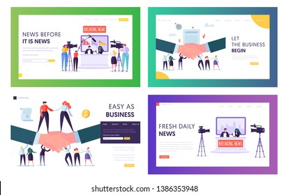 Broadcasting News and Business Agreement Website Landing Page Templates Set, Television Presenters, Video Shooting Crew in Studio, Handshaking People Web Page, Cartoon Flat Vector Illustration, Banner