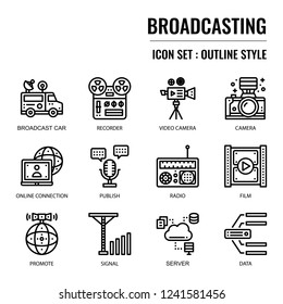 Broadcasting, pixel perfect icon, isolated on white background