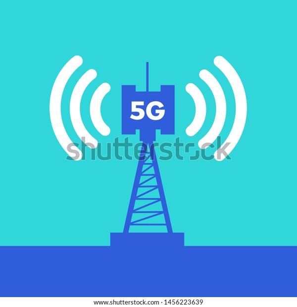 Broadcasting, transmission and distribution of internet signal from 5G antenna, communications tower, transmitter and satellite. Vector illustration