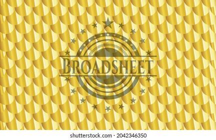 Broadsheet golden badge. Scales pattern. Vector Illustration. Detailed.