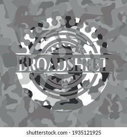 Broadsheet on grey camo pattern