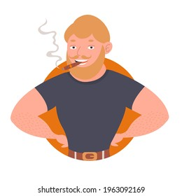 A broad-shouldered man with a beard and mustache smiles and smokes a cigar. Vector stock illustration, tobacco products, logo