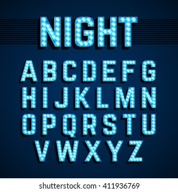 Broadway lights style light bulb alphabet, night show. Vector illustration.