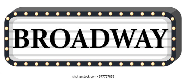 Broadway sign on white background illustration
