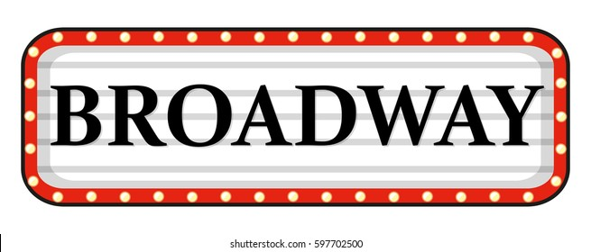 Broadway sign with red frame illustration