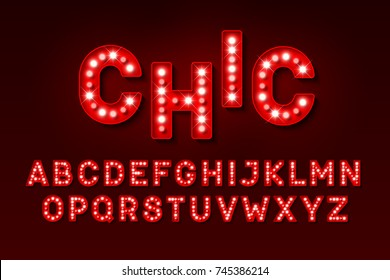 Broadway style retro light bulb font, vector illustration