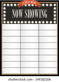 broadway/cinema now showing signage template vector/illustration