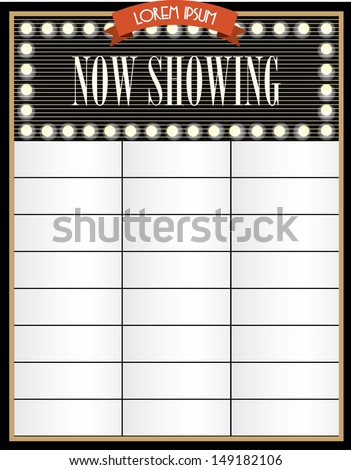 Broadway Cinema Now Showing Signage Template Vector Illustration
