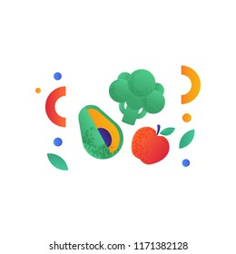 Broccoli, avocado, red apple, vegan or balanced diet food signs, healthy lifestyle concept, vector Illustration on a white background