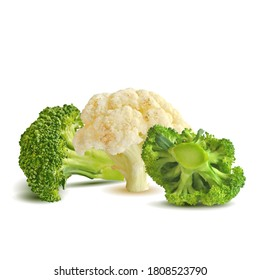 Broccoli and Cauliflower low poly. Fresh, nutritious, tasty Cauliflower and broccoli. Delicious and healthy lunch. Vector illustration. Broccoli and Cauliflower in triangulation technique.