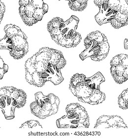 Broccoli hand drawn vector seamless pattern. Vegetable engraved style illustration. Isolated Broccoli background. Detailed vegetarian food drawing. Farm market product.