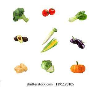 broccoli, tomato, salad, avocado, radish, corn, eggplant, potato, cabbage, pumkin in low poly illustration