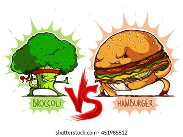 Broccoli vs Hamburger colored