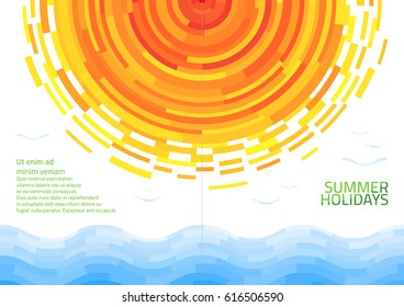 Brochure with abstract sun and sea. Template of magazine, poster, book cover, banner, flyer, booklet. Summer holidays. Vector illustration.