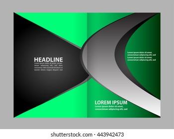 bifold brochure template design green color stock vector royalty