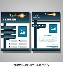 Brochure blue Flyer design Layout template infographic eps 10