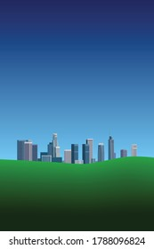 Brochure, booklet, book, magazine, leaflet, presentation cover modern design with downtown Los Angeles cityscape, green grass and blue sky – vector illustration