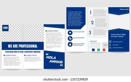 Brochure business trifold flyer template depp blue theme