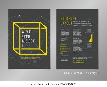 Brochure, catalog, cover, page layout template with optical illusion. Think outside the box concept on dark background. Low poly surfaces, geometric design, minimalistic color style. Square shape.
