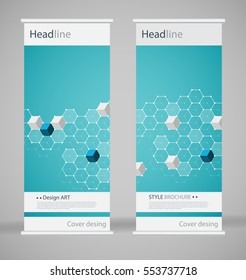 Brochure cover design. Abstract roll up. Modern poster magazine layout template. Fancy vector front page. Brochure template design. DNA. Beautiful structure of the spiral molecule. Science concept