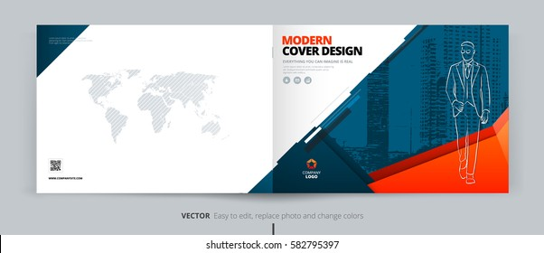 Brochure cover design. Blue & orange corporate business landscape template for brochure, report, catalog, flyer. Layout with modern abstract triangle background. Creative poster, flyer, banner concept