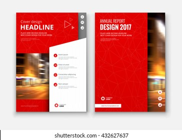 Brochure cover design. Corporate business template for report, catalog, magazine. Layout with modern flat styled photo. Creative red presentation, poster, flyer or banner vector concept