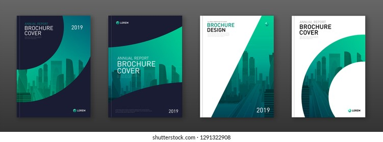 Brochure cover design layout set for business and construction. Abstract geometry whith colored cityscape vector illustration on background. Good for annual report, magazine, flyer, leaflet, poster.