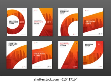 Brochure cover design layout set  for business and construction. Abstract geometry with colored cityscape vector illustration on background. Good for annual report, magazine, flyer, leaflet, poster.