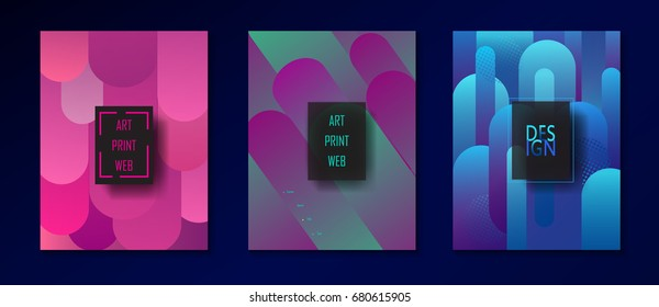 Brochure cover design layout set Modern Art Minimalist style Magenta Geometric dynamic fluid gradient color shapes background Hipster POP Art Magazine bannner flyer poster template 2020 New collection
