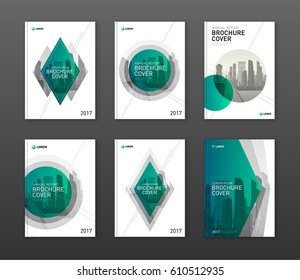 Brochure cover design layouts set for business and construction. Abstract geometry with colored cityscape vector illustration in shape. Good for annual report, magazine, flyer, leaflet, poster.