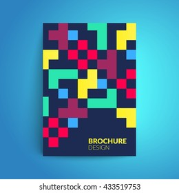 Brochure cover design. Minimalism. Colorful geometric shapes on dark background. Vector template for business card,poster,flyer etc.