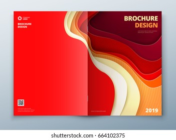 Brochure cover design. Paper carve abstract cover for brochure flyer magazine or catalog design. Brochure in red orange yellow color for catalog