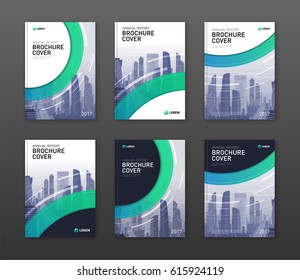 Brochure cover design templates set for construction or finance company. Abstract minimalistic geometry with cityscape vector illustration on background. Good for annual report, catalog, flyer.