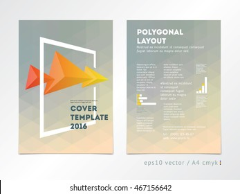 Brochure cover layout. Catalog, annual report, page template. Think outside the box concept on polygonal background. Low poly design, geometric shapes, bright colors style. Rectangle 3d frame.