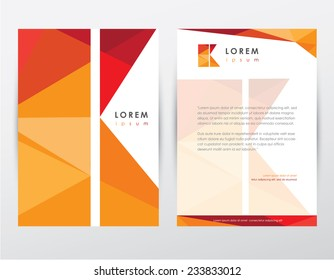 brochure cover and letterhead template design stationery set with letter k logo for business presentations- modern polygonal multicolored pattern